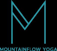 Türkises Mountainflow M mit dem Untertext Mountainflow Yoga als Logo
