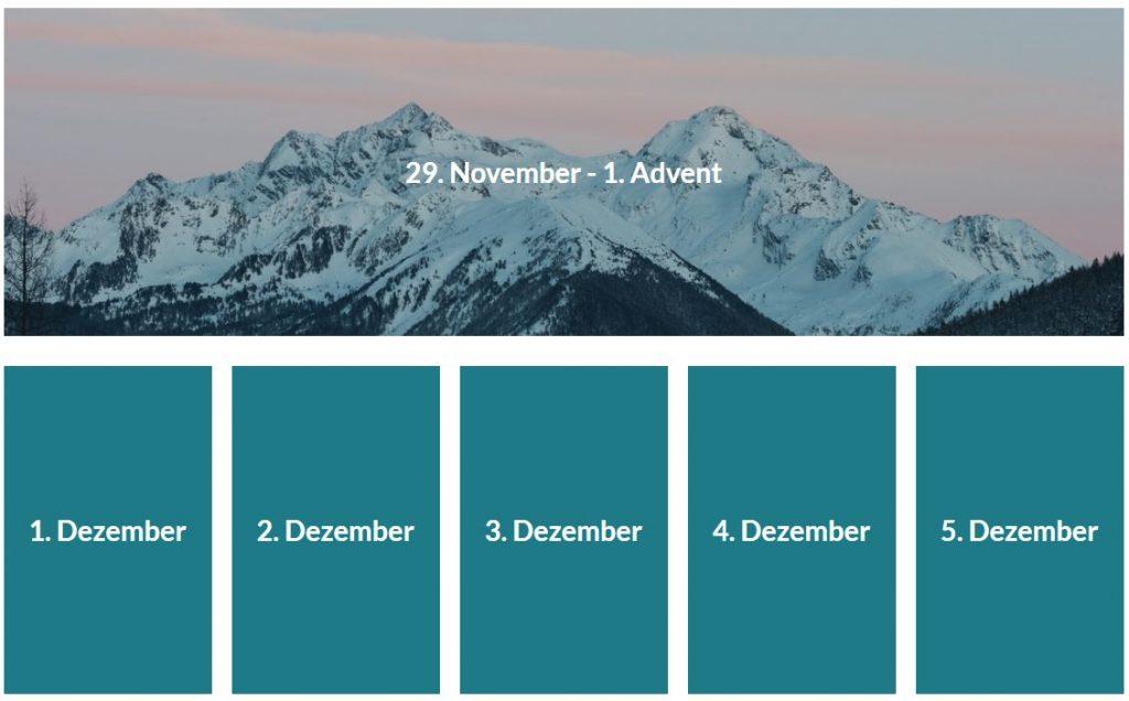 Ausschnitt eines Adventskalenders - Türchen 1 bis 6